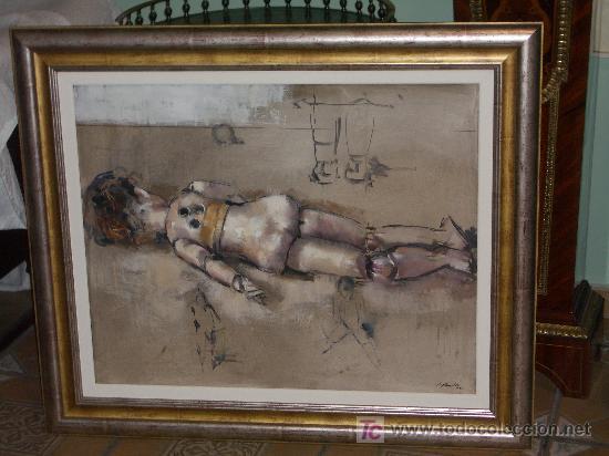 PRECIOSO Y GRAN OLEO JAUME QUERALT, MUÑECA ANTIGUA DE ESPALDAS, 80 X 100 CMS (Arte - Pintura - Pintura al Óleo Contemporánea )