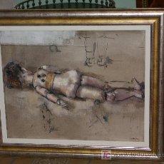 Arte: PRECIOSO Y GRAN OLEO JAUME QUERALT, MUÑECA ANTIGUA DE ESPALDAS, 80 X 100 CMS. Lote 26804694