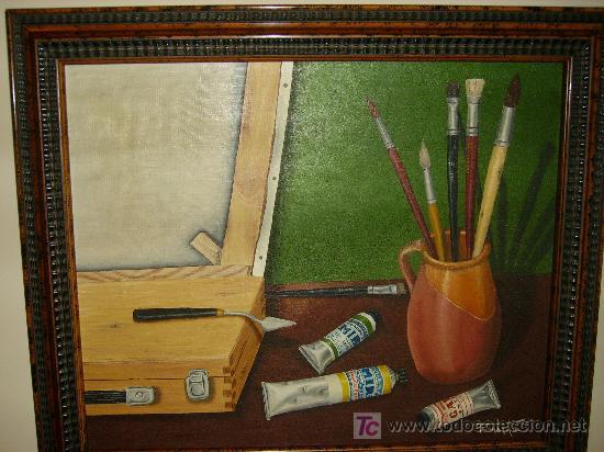 CUADRO AL OLEO MOTIVO UTILES DE PINTURA (Arte - Pintura - Pintura al Óleo Contemporánea )