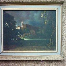 Arte: ANTONIO GOMAR Y GOMAR (1853-1911). OLEO SOBRE TABLEX. 27 X 21 CM. PAISAJE CON TORMENTA. FIRMADO.. Lote 27134942