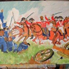 Arte: CARGA DE LOS DRAGONES INGLESES EN WATERLOO 60X50 CM. CRESPO. Lote 18731957