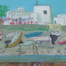 Arte: PLAYA DE LAS NEGRAS CABO DE GATA ALMERÍA 40 X40 APROX. CRESPO. Lote 11442541