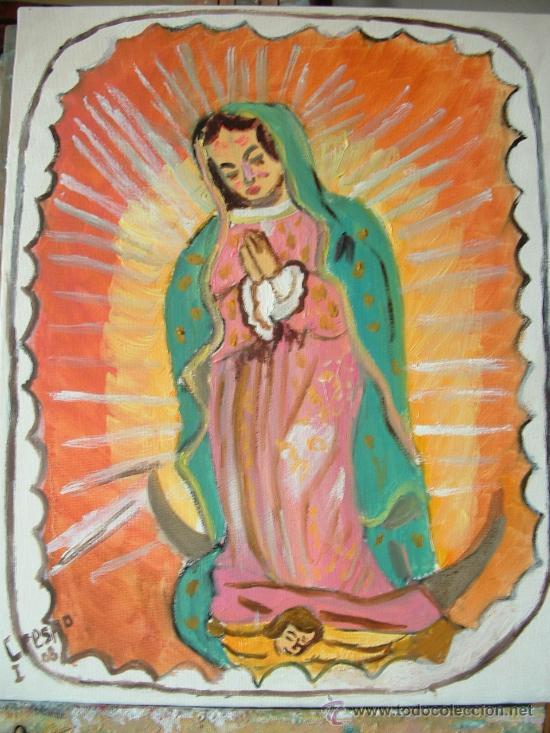 Virgen de guadalupe 40x33 cm oleo sobre lienzo comprar - Lienzo sobre bastidor ...