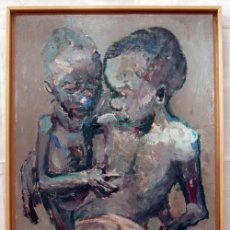 Arte: ÓLEO FRATERNIDAD HAMBRIENTA CON FIRMA 1999. Lote 10681008