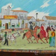 Arte: CALLE DEL ROCIO 70X60 CM. OLEO LIENZO BASTIDOR CRESPO. Lote 50686365