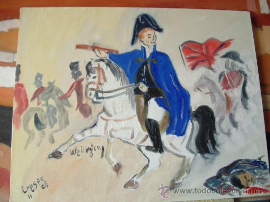 WELLINTONG A CABALLO 40X50 CM. OLEO SOBRE LIENZO EN BASTIDOR CRESPO (Arte - Pintura - Pintura al Óleo Contemporánea )