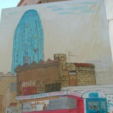 Arte: TORRE AGBAR BARCELONA Y LA CHURRERÍA(ESCENA DESAPARECIDA) 70X60 APROX.OLEO LIENZOE BASTIDOR, CRESPO. Lote 18622082