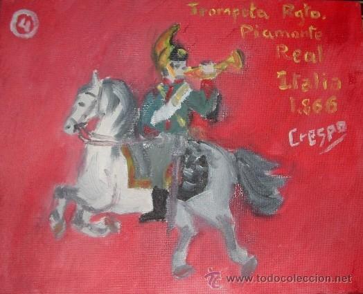 TROMPETA DEL REGIMIENTO DEL PIAMONTE 30X24 CM OLEO SOBRE LIENZO EN BASTIDOR DE CRESPO (Arte - Pintura - Pintura al Óleo Contemporánea )