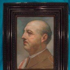 Arte: RETRATO AL ÓLEO SOBRE CARTÓN DE FRANCISCO FRANCO, PINTADO POR VICENTE NAVARRO ROMERO . Lote 8644305