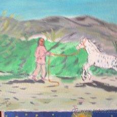 Arte: ENTRENANDO EL CABALLO 40X38 M. OEO SOBRE LIENZO BASTIDOR DE CRESPO. Lote 16288653