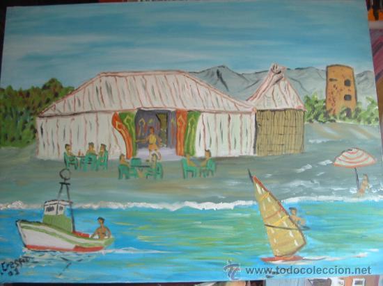 JAIMA EN LA PLAYA DEL AEROUERTO DE ALMERIA , 70X 50 CM-APROX. OLEO SOBRE LIENZO DE CRESPO (Arte - Pintura - Pintura al Óleo Contemporánea )