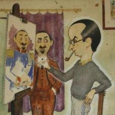 Arte: A.G. MONTORO. ACUARELA - EL PINTOR - FIRMADA Y FECHADA 1942. ENMARCADA. 50 X 43 CM. Lote 26579576