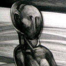 Arte: SUCASAS GUERRA.ALFONSO UN HOMBRE EN PAISAJE.TECNICA MIXTA.1971.CERTIFICADO.45X75 CM..TEXTOS. Lote 27618875