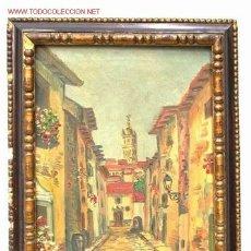 Arte: OLEO SOBRE LIENZO BARRIO TIPICO SEVILLANO PRINCIPIOS SIGLO XX. Lote 17654626