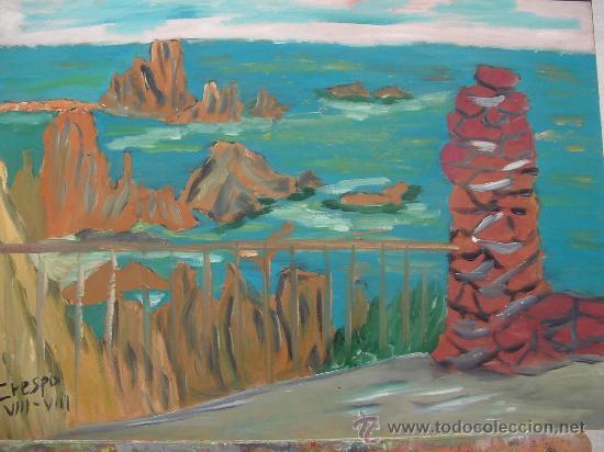 ROCA DE LAS SIRENAS CABO DE GATA , ALMERÍA 57X60 CM. OLEO SOBRE TABLEX ,AUTOR CRESPO (Arte - Pintura - Pintura al Óleo Contemporánea )