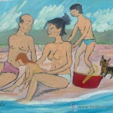 Arte: FAMILIA EN LA PLAYA, OLEO SOBRE TABLEX 57X60 AUTOR CRESPO. Lote 11456965