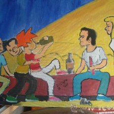 Arte: SABELI EN EL BOTELLÓN , 40X50 CM. OLEO /TABLEX CRESPO . Lote 15892694