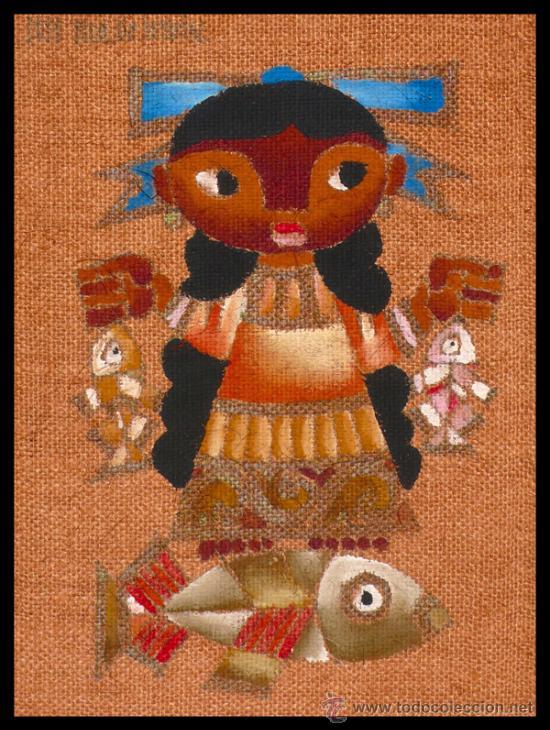 EXCELENTE PINTURA DE JOSE MARIA SERVIN, NIÑA MEXICANA CON PECES (Arte - Pintura - Pintura al Óleo Moderna sin fecha definida)