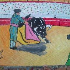 Arte: TOREANDO CON EL CAPOTE 30X40 CM. OLEO /LIENZO CRESPO. Lote 12311431