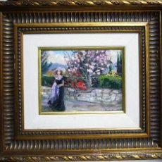 Arte - 1789.- Oleo sobre cartón tablex 18x23. Enmarcado 42X47. Josefina Coderch Figuera - 27393197