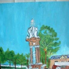 Arte: ALMERÍA , FUENTE DE LOS PECES A LA ENTRADA , 50X60 CM- OLEO /TABLEX CRESPO.. Lote 11237111