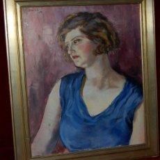 Arte: LLUIS MORATO, OLEO SOBRE LIENZO DEL 1932 (RETRATO FEMENINO). Lote 26091993