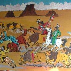 Arte: CAZANDO LOS BUFALOS , AVENTURAS DEL OESTE POR F. CRESPO OLEO SOBRE TABLEX 60X50. Lote 16288654