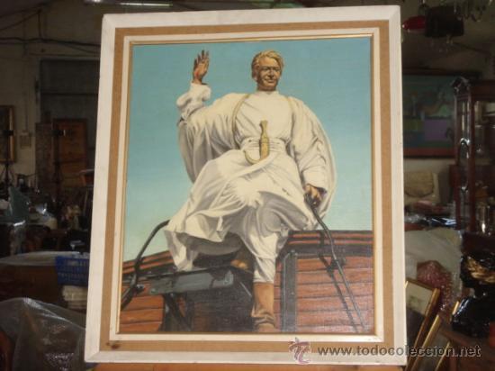 ORIGINAL ÓLEO SOBRE LIENZO (62X51.5), FIRMADO. LAWRENCE DE ARABIA, REPRESENTADO POR PETER O´TOOLE. (Arte - Pintura - Pintura al Óleo Contemporánea )