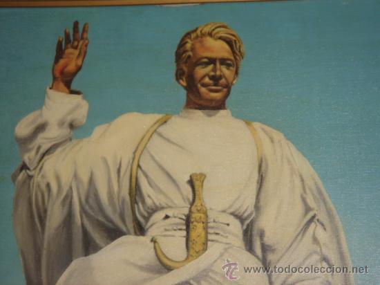 Arte: ORIGINAL ÓLEO SOBRE LIENZO (62X51.5), FIRMADO. LAWRENCE DE ARABIA, REPRESENTADO POR PETER O´TOOLE. - Foto 2 - 27165002