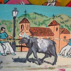 Arte: L21 TOROS ENSOGAOS DE OHANES (ALMERÍA ) 35X24 DE CRESPO OLEO SOBRE LIENZO EN BASTIDOR.. Lote 12220506