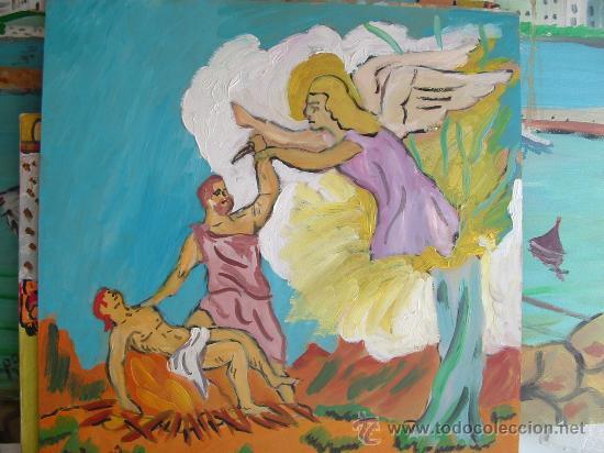 EL SACRIFICIO DE ISAAC, 40X40, OEO SOBRE TABLEX , AUTOR CRESPO (Arte - Pintura - Pintura al Óleo Contemporánea )