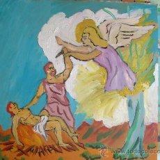 Arte: EL SACRIFICIO DE ISAAC, 40X40, OEO SOBRE TABLEX , AUTOR CRESPO . Lote 15946711