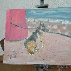 Arte: L22 PERRO ATADO AL FARO, 35X24 APROX. OLEO SOBRE LIENZO EN BASTIDOR , CRESPO. Lote 15946712