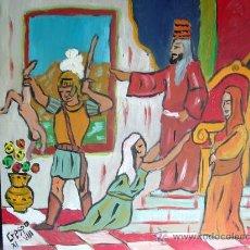 Arte: L24 EL JUICIO DE SALOMÓN, 40X40 OLEO SOBRE TABLEX ,ORIGINAL DE CRESPO. Lote 12220518