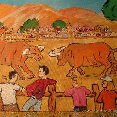 Arte: LUCHA DE TOROS ,FIESTA TIPICA DE UN PUEBLO DE GALICIA , 40X50 OLEO SOBRE LIENZO EN BASTIDOR,CRESPO ,. Lote 16118307