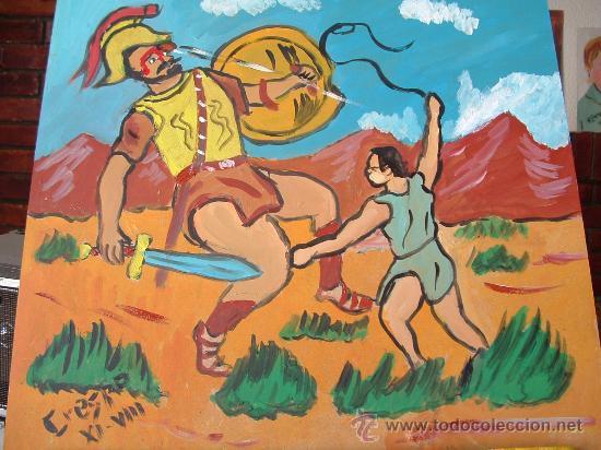 DAVID Y GOLIAT ,OLEO SOBRE TABLEX 40X40 DE CRESPO (Arte - Pintura - Pintura al Óleo Contemporánea )