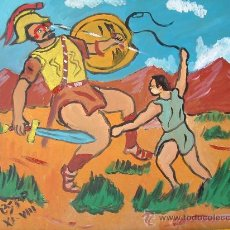 Arte: DAVID Y GOLIAT ,OLEO SOBRE TABLEX 40X40 DE CRESPO. Lote 19329623