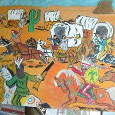 Arte: L30 ATAQUE A LA CARAVANA ÓLEO SOBRE TABLEX , 50X60 CM- DE CRESPO. Lote 15612247