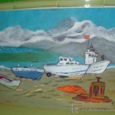 Arte: BOTES EN LA PLAYA DE BALERMA, 40X60 APROX. ÓLEO /TABLEX DE CRESPO. Lote 11470809