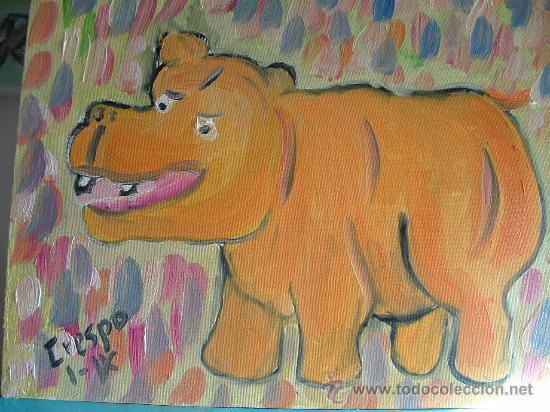 HIPOPÓTAMO INGENUO , 30X24 CM. ÓLEO SOBRE LIENZO EN BASTIDOR DE CRESPO (Arte - Pintura - Pintura al Óleo Contemporánea )