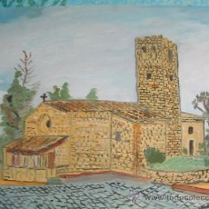 Arte: IGLESIA DEL VALLÉS ,BARCELONA, 50X60 APROX. ÓLEO /LIENZO DE CRESPO. Lote 16135381