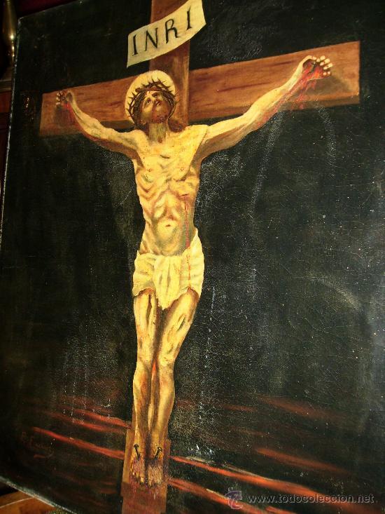 OLEO SOBRE LIENZO S:XVII; XVIII: JESUS EN LA CRUZ.54X65, FIRMA P.FRACHAIR, ESTADO ACEPTABLE (Arte - Pintura - Pintura al Óleo Antigua siglo XVI)