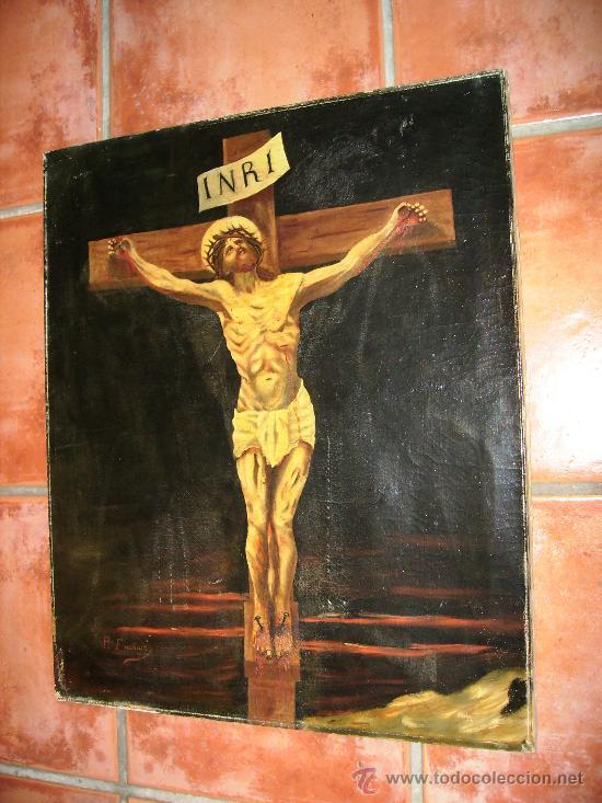 Arte: oleo sobre lienzo S:XVII; XVIII: jesus en la cruz.54x65, firma p.frachair, estado aceptable - Foto 2 - 26388914