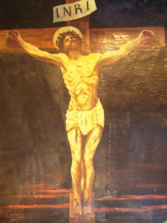 Arte: oleo sobre lienzo S:XVII; XVIII: jesus en la cruz.54x65, firma p.frachair, estado aceptable - Foto 3 - 26388914