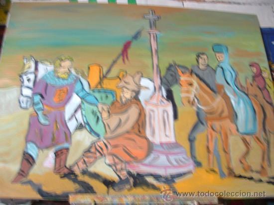 EL CID CAMPEADOR AYUDA AL LEPROSO, ÓLEO MADERA DE CRESPO 80X60 (Arte - Pintura - Pintura al Óleo Contemporánea )