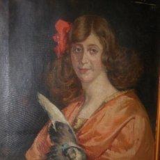 Arte: PALLARÉS ALLUSTANTE, JOAQUIN. (ZARAGOZA 1853-1935) RETRATO DE MUJER PINTADO EN 1917. Lote 26311646