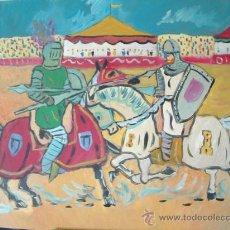 Arte: TORNEO ,EL CID FRENTE A UN CABALLERO NAVARRO. 80X60 ÓLEO SOBRE MADERA DE CRESPO. Lote 16444570