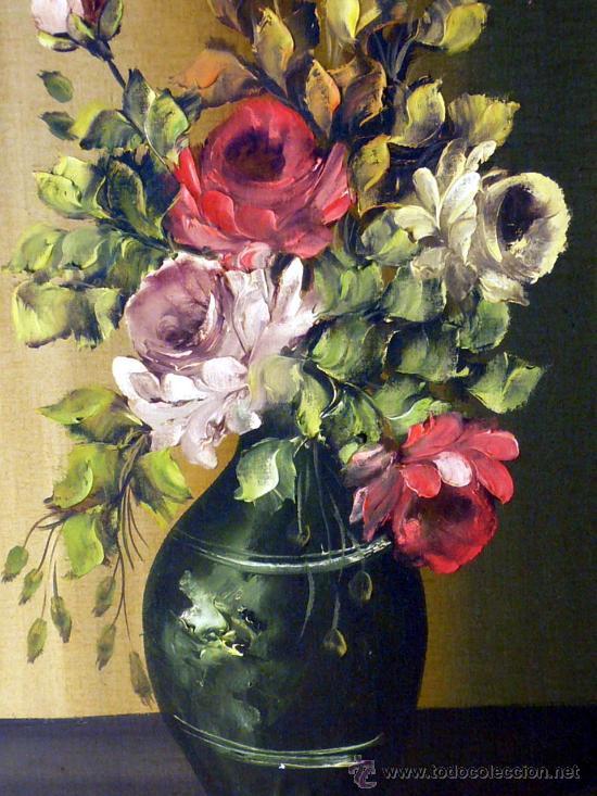 interesante pintura al oleo, jarron con flores - Comprar Pintura al ...