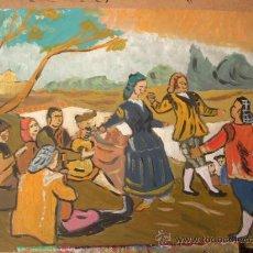 Arte: VERSIÓN DE BAILE EN EL MANZANARES ,ÓLEO SOBRE MADERA ,50X60 CM. DE CRESPO. Lote 18616046