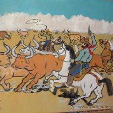 Arte: VAQUEROS Y GANADO EN EL FAR WEST , 50X60 CM. ÓLEO SOBRE MADERA DE CRESPO. Lote 18616047